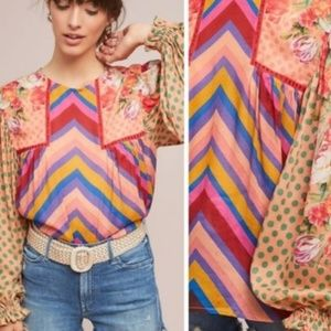 Anthropologie Eclectic Peasant Blouse by Bl-nk